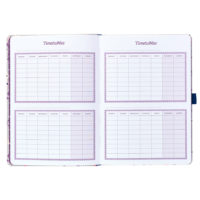 Busy B Floral Academic Diary shows the timetable pages