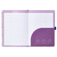 Busy B Floral Academic Diary inside view shows grid paper and pocket to store items and small month calendar