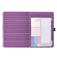 Busy B Floral Academic Diary showing purple striped insert and sticky notes