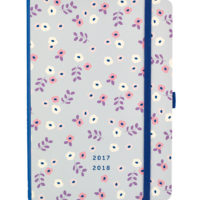 rear view of the Busy B Floral Academic Diary with floral pattern and words 2017 - 2018