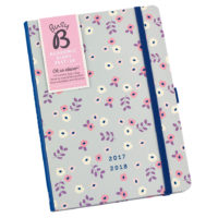 Busy B Floral Academic Diary lifestyle shot of the diary showing floral pattern and blue elastic closure