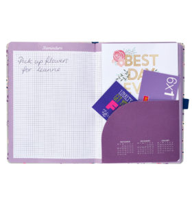 Busy B Floral Academic Diary showing grid paper and pocket for storing things