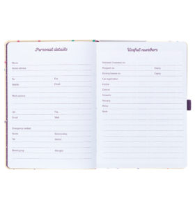 Busy B Academic Diary showing personal details and useful numbers pages