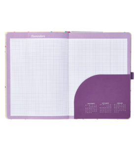 Busy B Academic Diary inside view showing grid paper and small calendar