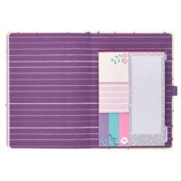 Busy B Academic Diary inside view showing purple, striped insert, and sticky note set