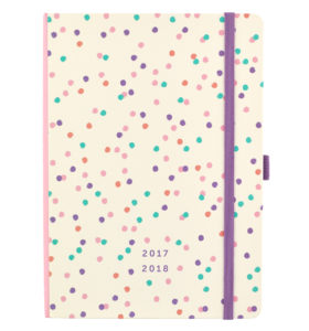 Busy B Academic Diary viewed from the rear showing cream background and multi-coloured spots and purple elastic closure