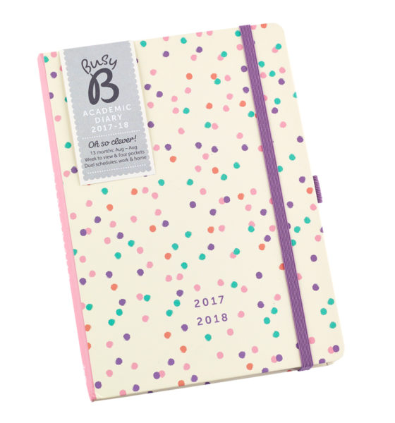 2017-2018 Busy B Academic Diary with cream background and multi-coloured spots and purple elastic closure