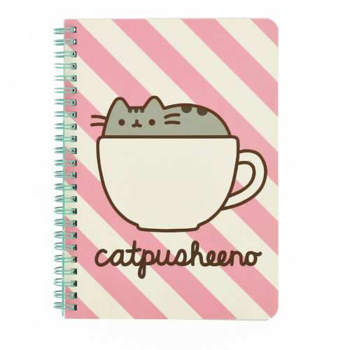 pusheen A5 wiro bound notebook front view printed pusheen design on the front and back