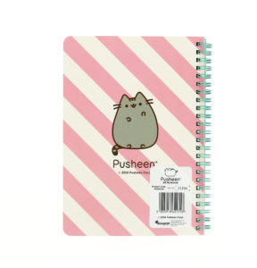 back view of the pusheen A5 wiro notebook with pusheen printed design and pink and white stripes