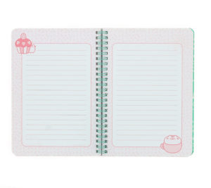 inside view of Pusheen A5 Wiro Bound Notebook Front Angle View with green pusheen printed inside cover and lined pages