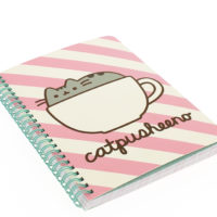 Pink striped Pusheen A5 Wiro Bound Notebook Front Angle View
