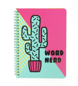 Girl Gang A5 Wiro Notebook front view showing a cactus design and text Word Nerd