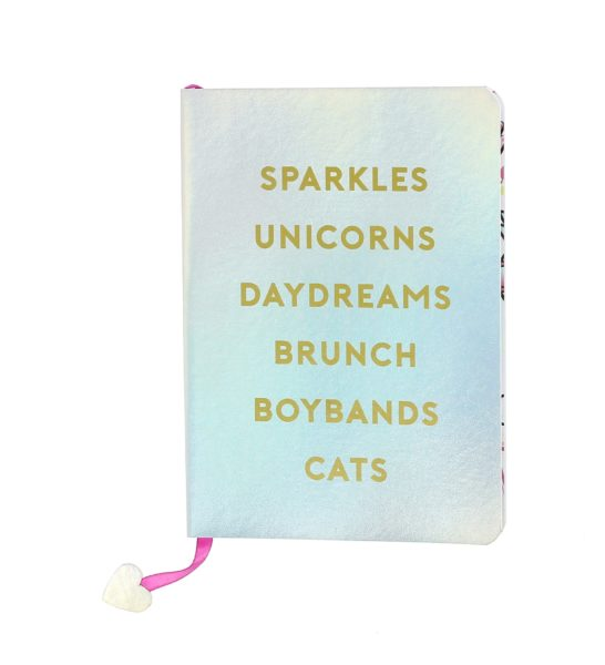 Girl Gang Sparkly Designer Notebook alternative front view showing text sparkles, unicorns, daydreams, brunch, boybands, cats