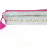 Small Girl Gang Pencil Case side view showing text Mermaids, Donuts, Glitter