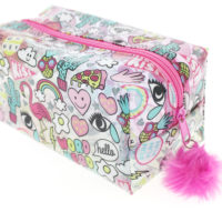 angled view of the large girl gang, transparent pencil case which includes a pink fluffy zipper