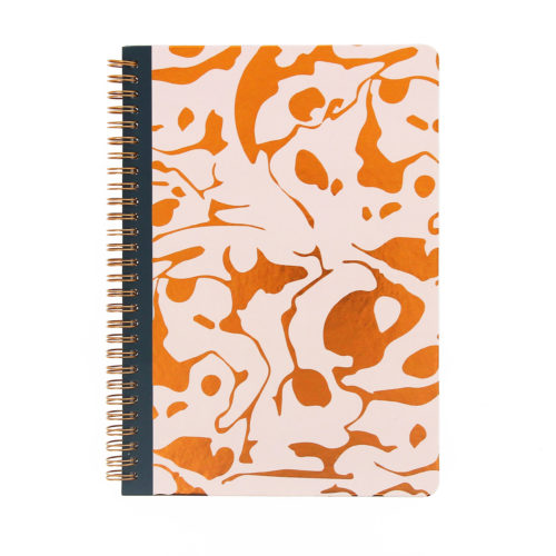another front view of wiro notebook with gold foil geometric design