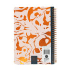 back view of wiro notebook with gold foil geometric design