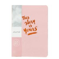 front view of the pink journal that includes gold foil lettering that reads this story is yours