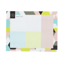 lovely desk pad with a geometric design including various colours like blue, grey, green and pink