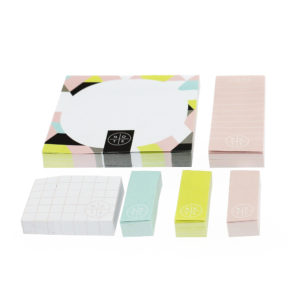various colours and sizes of geometric patterned sticky notes