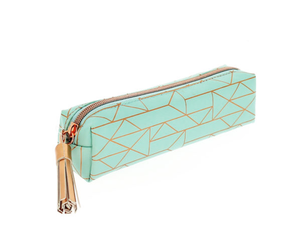 Another angled view of a lovely turquoise pencil case with a gold foil geometric pattern, gold tassel and gold zipper