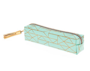 Angled view of a lovely turquoise pencil case with a gold foil geometric pattern, gold tassel and gold zipper