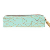 Front view of a lovely turquoise pencil case with a gold foil geometric pattern, gold tassel and gold zipper