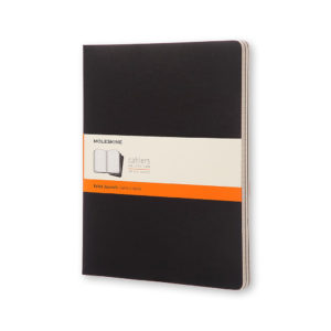 front view of the three pack of Moleskine Black Cahier Notebooks