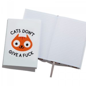 Ohh Deer 'Careless Whisker' A5 Notebook front showing text cats don't give a fuck