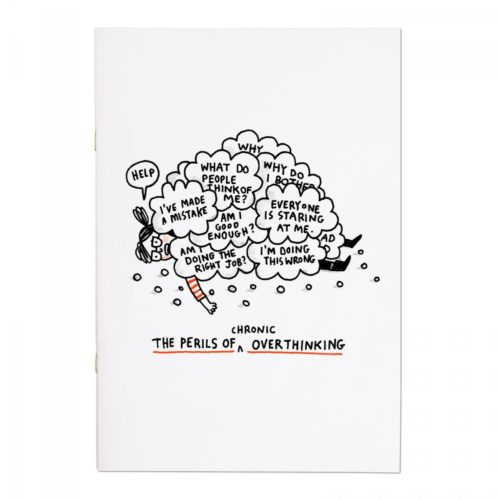 Ohh Deer 'The Perils of Overthinking' A4ish Notebook reads the perils of (chronic) overthinking front view