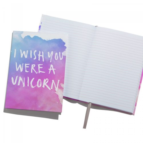 Ohh Deer I Wish You Were a Unicorn A5 Notebook front view and inside view