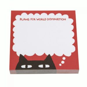 Ohh Deer Sneaky Cat Post It Notes reads plans for world domination