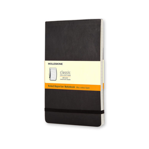 reporter notebook front view with moleskine label