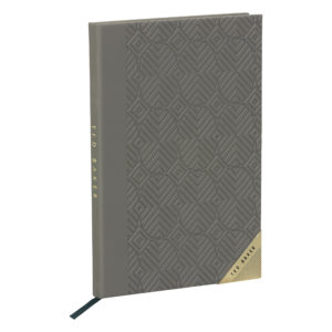 Ted Baker A5 Notebook Ash Grey Front lifestyle shot