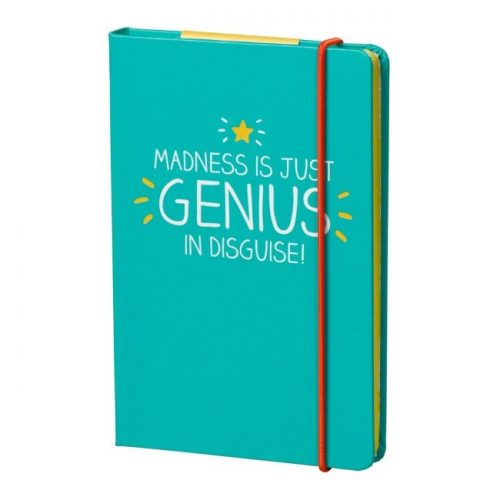 Blue Happy Jackson A6 Notebook 'Genius in Disguise' - Angled