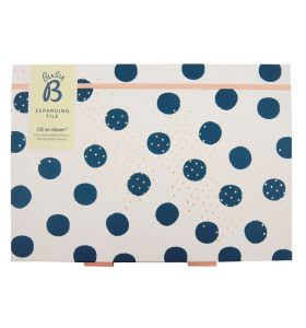 Busy B White with blue Dots Expanding File - Flat