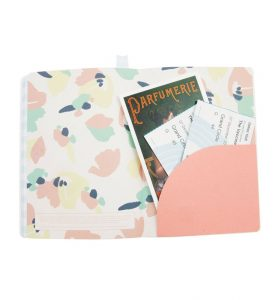 Green A5 Notebook by BusyB - Inside Pocket with postcards