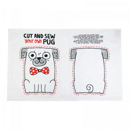 Cut & Sew Pug Tea Towel/Cushion - Back and Front