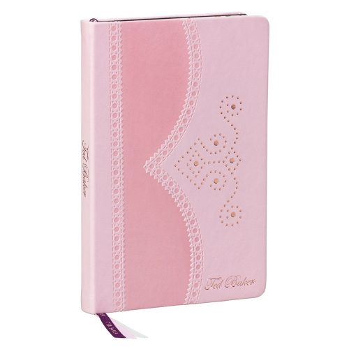 Pink A5 Brogue Notebook - Peony - Side Way