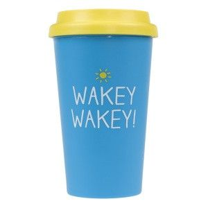 Happy Jackson Blue Travel Mug - 'Wakey Wakey'