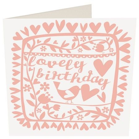 Pink Florals Birds with Hearts Birthday Card