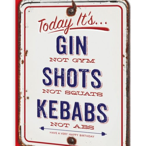 Gin Not Gym, Shots Not Squats Greeting Card