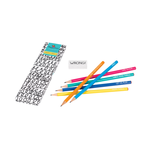 Happy Jackson Pencil Set of 6 and Eraser